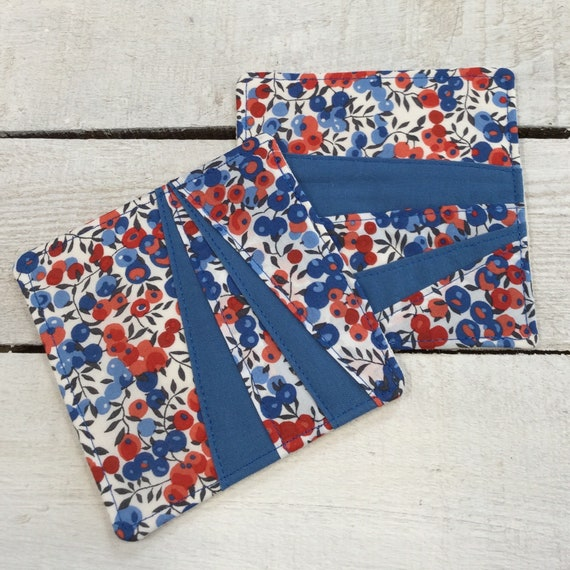 Coasters - Liberty Fabric - 1 pair, Mug Rug, Table Mat, Handmade, Wiltshire Red Fabric