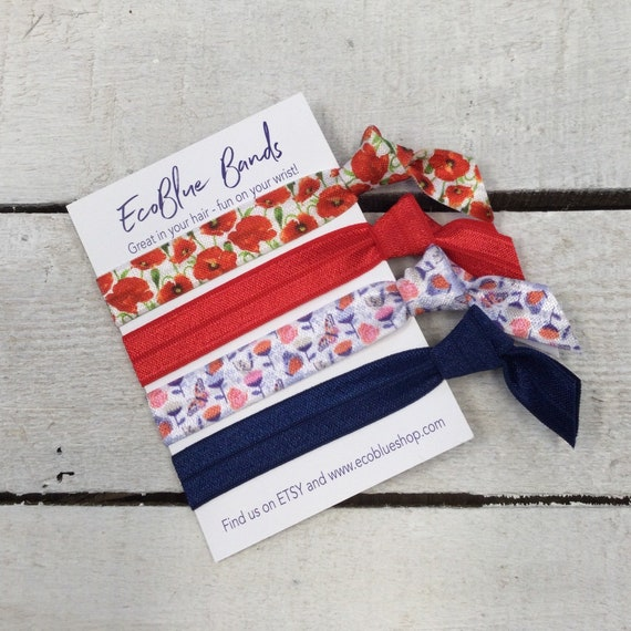 Hair elastics, soft stretch hair ties, ponies, yoga hair ties, bracelets, ponytail holders - Poppy and butterfly mix