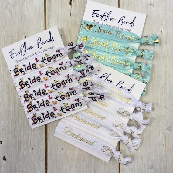 Hen Doo, Hen Party, Bride Tribe, Bride Team, Bridesmaid, Bride, Hair Elastics, Ponytail holders, (5 hair ties on a card)
