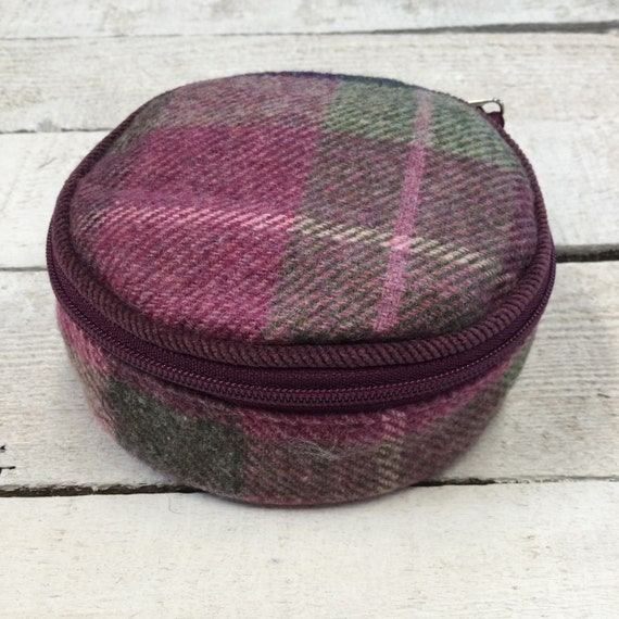 Jewellery Roll - Handmade with luxury English mulberry tweed and satin