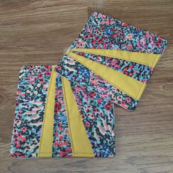 Coasters - Liberty Fabric - 1 pair, Mug Rug, Table Mat, Handmade, Yellow Fabric
