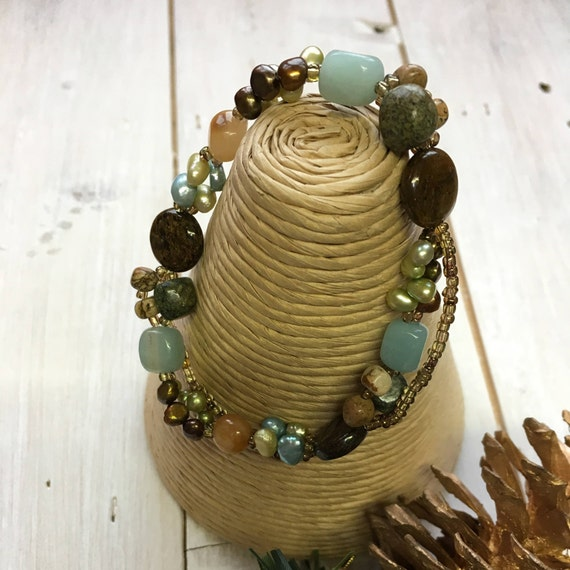 Bracelet - Turquoise, Yellow Jade & Freshwater Pearls Bracelet, Fair Trade, Fairtrade,