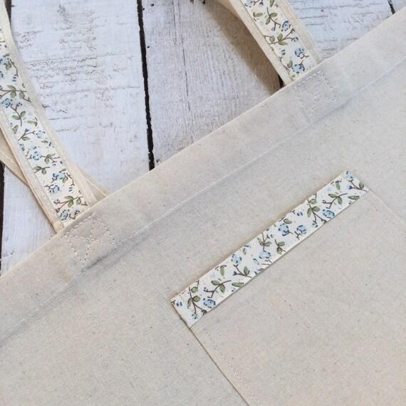 Natural Cotton Tote Bag with pocket, Shopping Bag, Craft Bag