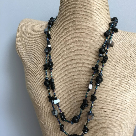 Necklace - Downton sparkling river shell, black agate, seed beads and crystal bead necklace