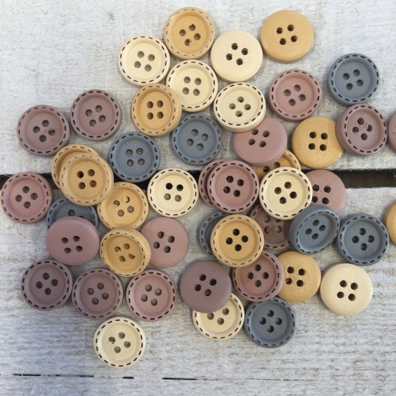 Wooden Buttons, mixed colours - 15mm,  6/8 inch Sustainable, Natural Buttons - pack of 10,