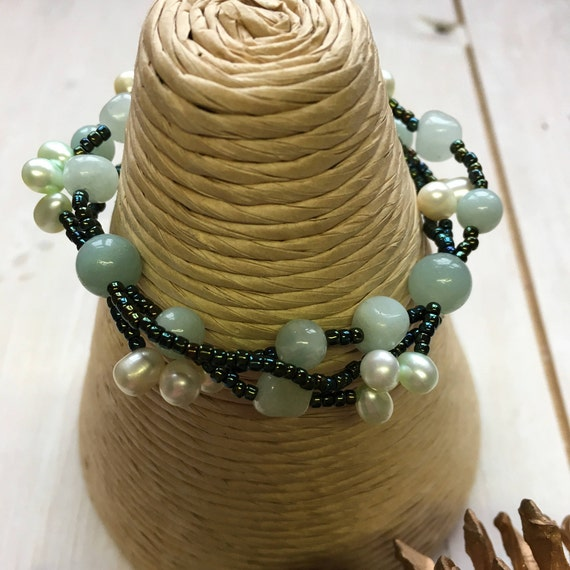 Bracelet - Brazilian Amazonite, Green Jade and freshwater pearls