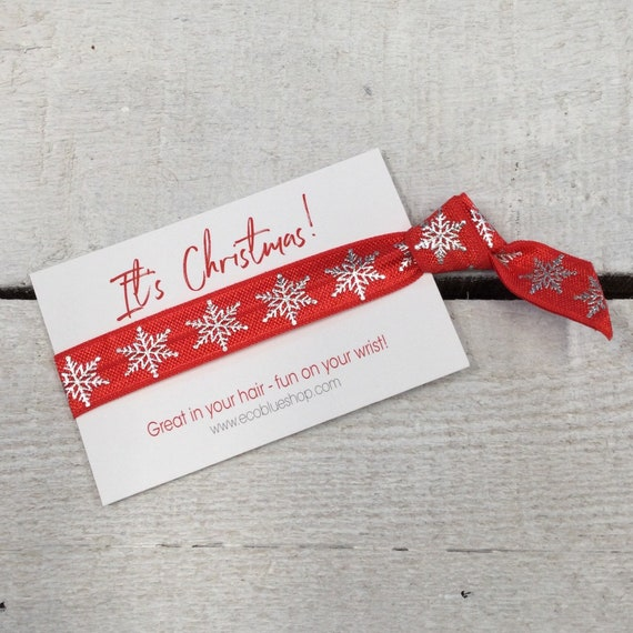 Christmas Hair Tie - Hair Elastic, wristband, Yoga Ties,  friendship band (1 single hair tie on card)