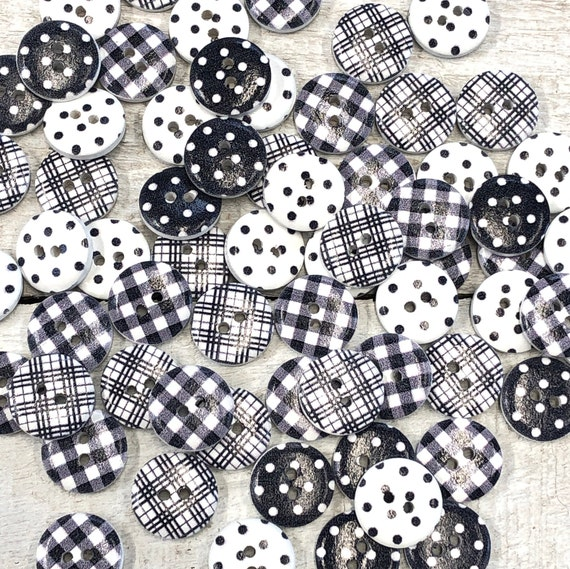 Wooden Buttons, mixed grey shades- spots and stripes - 15mm,  7/8 inch Sustainable, Natural Buttons - pack of 10