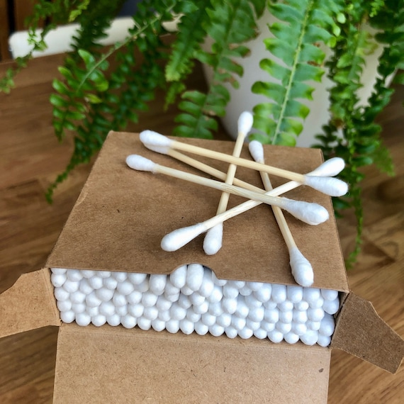 Cotton Buds - Natural Bamboo Eco Friendly, cotton swabs, contents approx 100, 1 box or in a paper bag