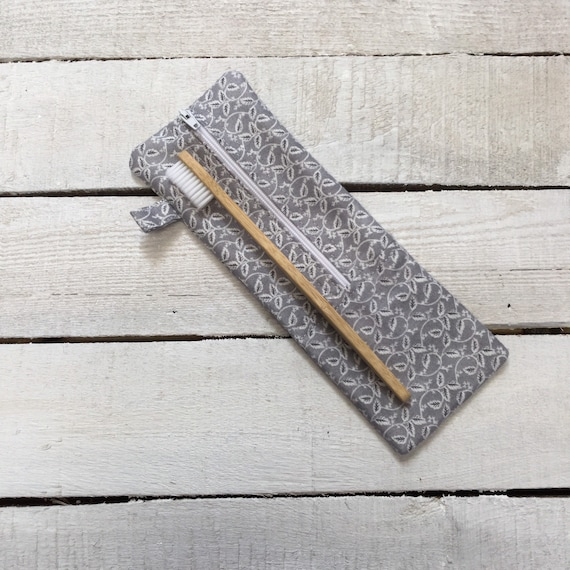 Bamboo toothbrush with cotton and towelling travel pouch/holder/case - natural and eco friendly