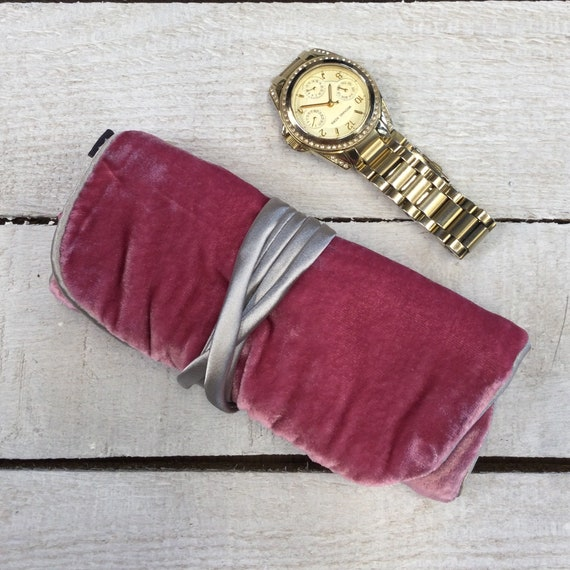 Jewellery Roll - Handmade with luxury pink velvet and turquoise satin lining
