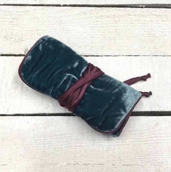 Jewellery Roll - Handmade with luxury teal velvet and satin lining