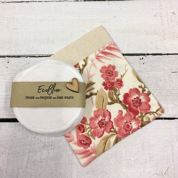 Reusable make-up remover wash pads, with handmade fabric travel bag pouch. Face Pads, Eco Friendly Gift, Washable Facial Rounds