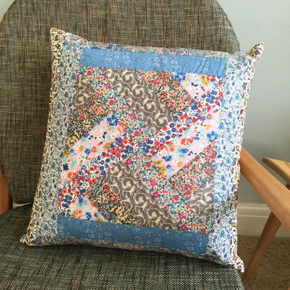Cushion - Handmade Liberty of London fabric patchwork cushion