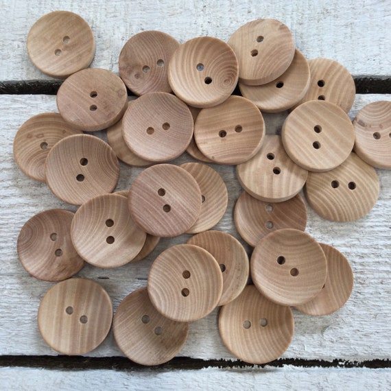 Wooden Buttons - 2 holes - 22mm, 7/8 inch, Sustainable, Natural Buttons,  Pack of 10