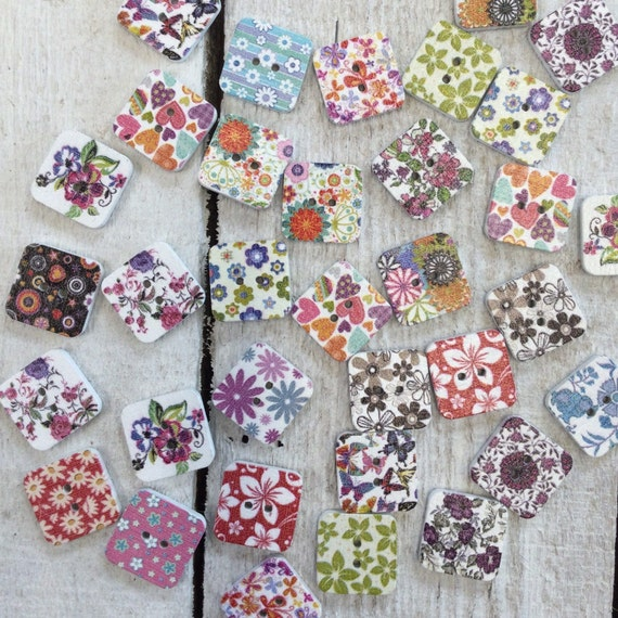 Square Wooden Buttons, mixed colours and designs - 18mm,  5/8 inch Sustainable, Natural Buttons - pack of 12,