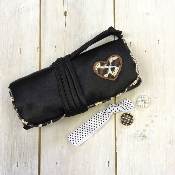 Jewellery Roll - Handmade luxury satin fabric, Paisley satin lining,  Black with applique heart design