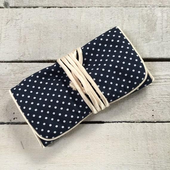 Handmade Jewellery Roll,  pretty navy polka dot fabric, with ivory satin lining