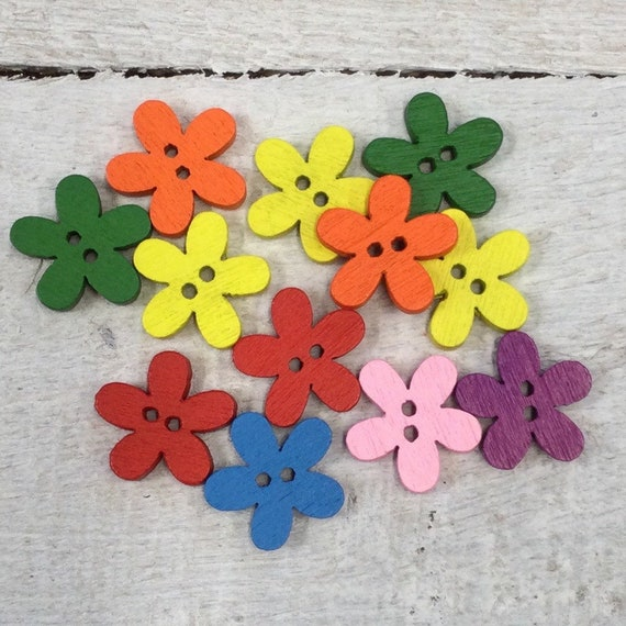 Wooden Buttons, mixed colours- flowers - 15mm,  7/8 inch Sustainable, Natural Buttons - pack of 12,