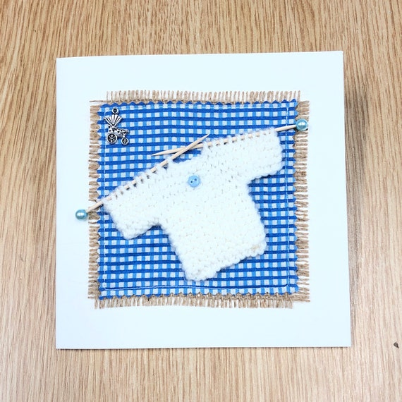New baby / New baby card / Baby / Congratulations card / Newborn baby / Handmade card / Textile card / Baby Shower Card