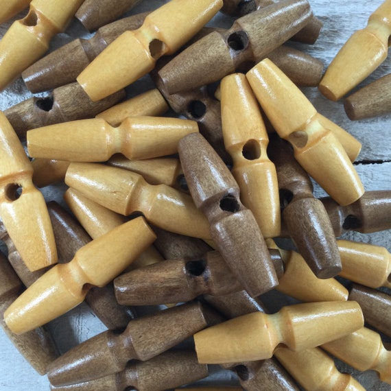 Wooden Toggles - Wooden Buttons - 45mm, 1 3/4 inches, Coat Buttons, Duffle Coat Buttons, Natural Buttons - pack of 5