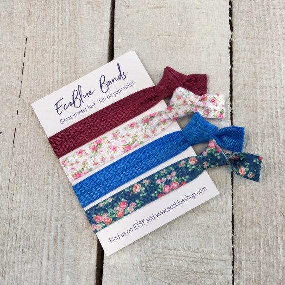 Hair elastics, soft stretch hair ties, ponies, yoga hair ties, bracelets, ponytail holders - Blue/Burgundy Florals