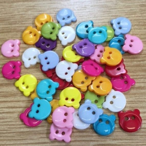 Pack of 10 Mixed Bright Colors, Teddy Bear, Car, Duck Buttons,  Plastic, Child , Baby Buttons, Sewing, Scrapbook,  17 mm,  7/16 Inch