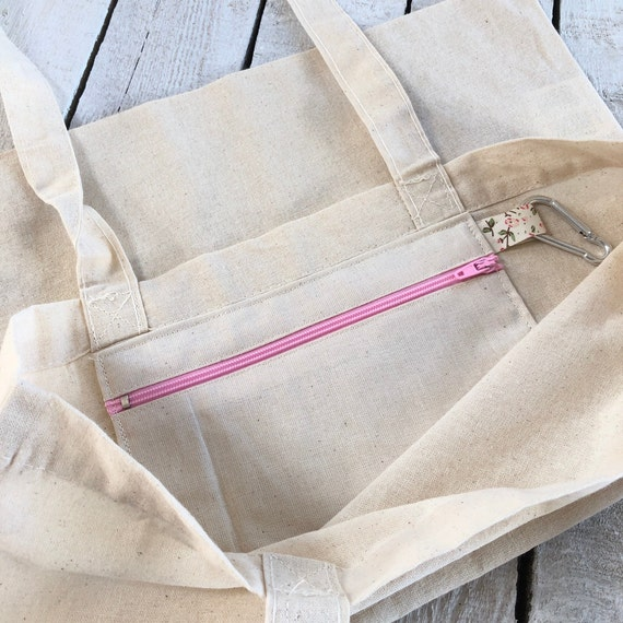 Natural Cotton Tote Bag with zipped pocket and key ring, Shopping Bag, Craft Bag
