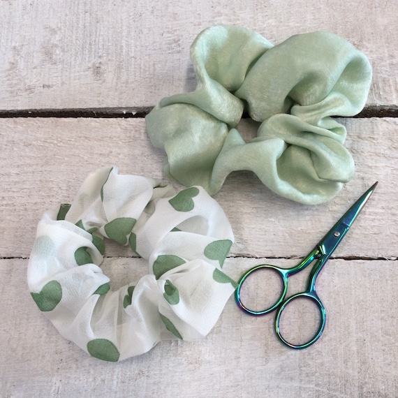 Luxury soft hair scrunchies, hair ties, ponies, yoga hair ties, bracelets, ponytail holders - Green Hearts mix