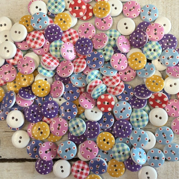Wooden Buttons, mixed candy spots, dots and check - 15mm,  6/8 inch Sustainable, Natural Buttons - pack of 10,