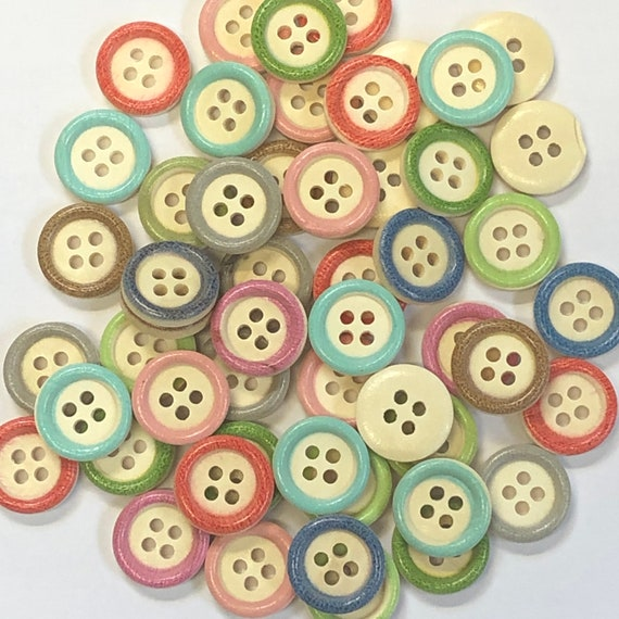 Wooden Buttons, mixed colours - 15mm,  5/8 inch Sustainable, Natural Buttons - pack of 12,