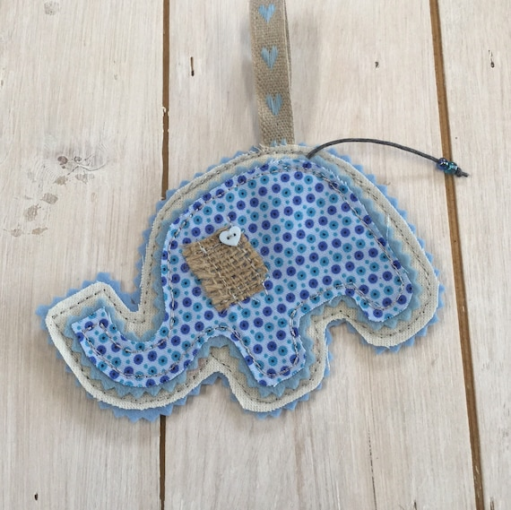 Baby Shower Gift,  Baby Elephant Hanging Decoration, Handmade,  Embroidered, Soft Fabric,  Felt, beads and embellishments