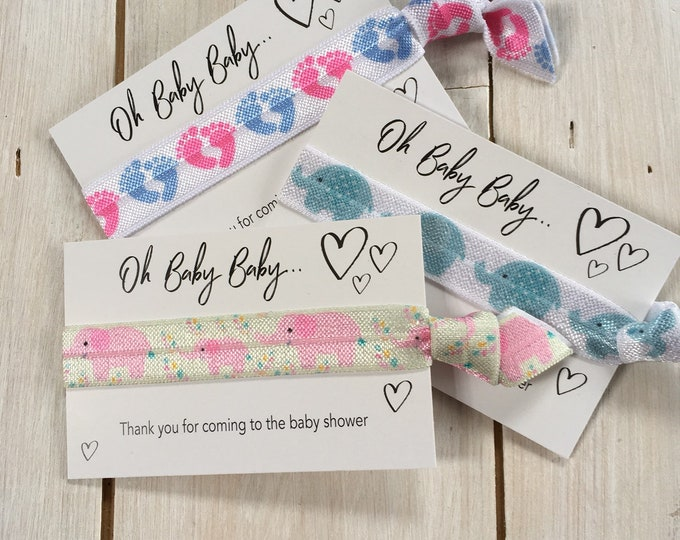 Baby Shower gift, Hair elastics, party favours,  friendship bands, wristbands, ponytail holders - Thank you for coming to the baby shower