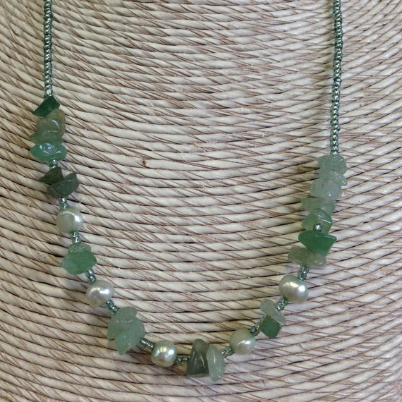 Necklace - Semi precious pearl and gem necklace -  green jade and amazonite