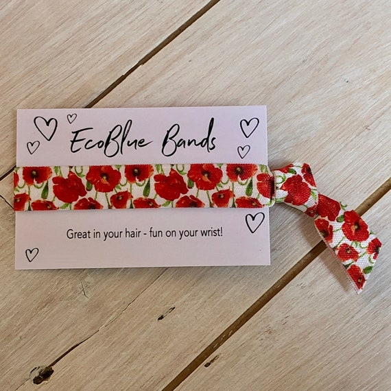 Hair Tie - Poppy Hair Elastic, wristband, Yoga Ties,  friendship band (1 single hair tie on card)