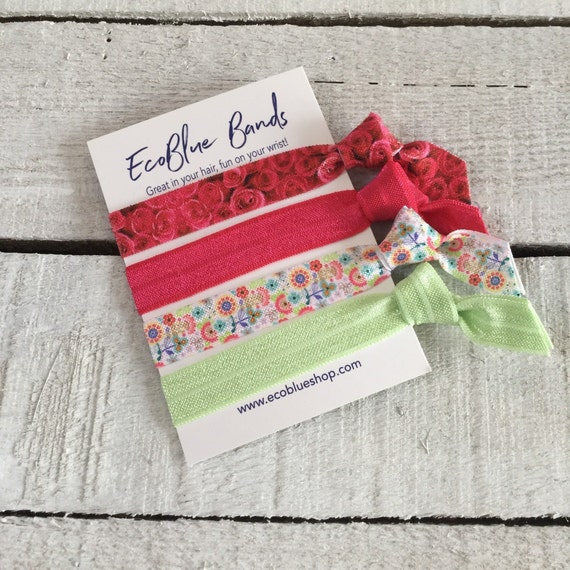 Hair elastics, soft stretch hair ties, ponies, yoga hair ties, bracelets, ponytail holders - Red Roses