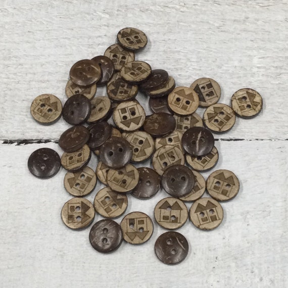 Coconut Shell Buttons - Wooden Buttons - 13mm, Sustainable, Natural Buttons - pack of 12, House Design