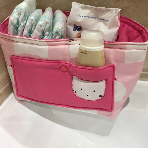 Baby Shower Gift.  Baby changing table ORGANIZER, diaper caddy, Nappy Organiser, Baby Organiser.  Washable & handmade.
