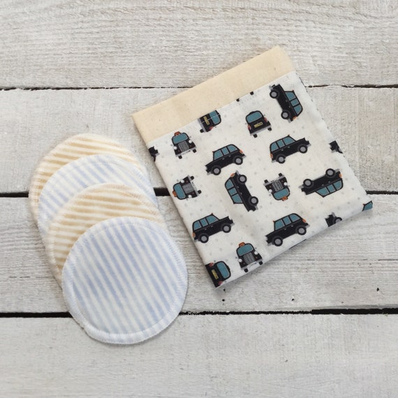 Make-up remover wash pads - Taxi design re-usable, with handmade fabric travel bag pouch. Face Pads, Eco Friendly Washable Facial Rounds.