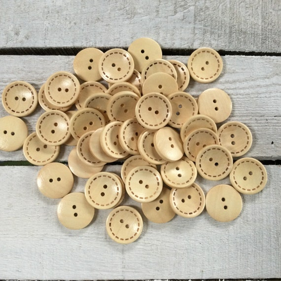 Wooden Buttons - 2 holes - 25mm, Sustainable, Natural Buttons,  Pack of 6