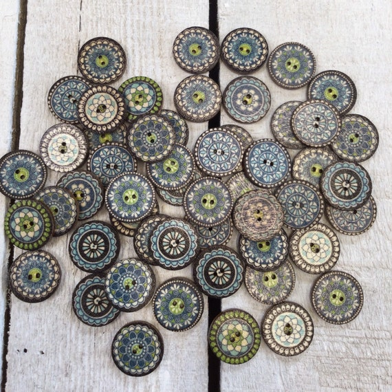 Wooden Buttons - 2 holes - 15mm, 5/8 inch, Sustainable, Natural Buttons,  Pack of 10