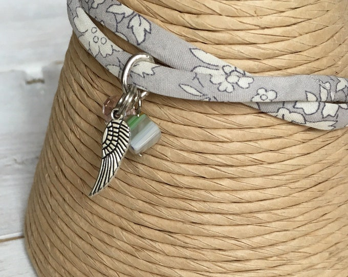 Liberty of London Tana Lawn fabric, adjustable bracelet with 3 charms