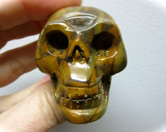Bamboo Leaf Agate Carved Crystal Skull 48mm 75g
