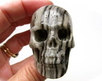 Black White Banded Jasper Crystal Skull 52mm 101g