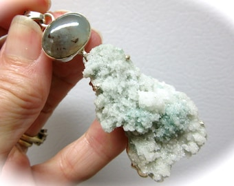Green Stilbite and Moss Agate Crystal Sterling Silver Pendant 75mm x 30mm