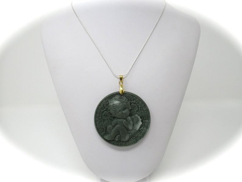 2.8 Cherubim Green Jasper Stone Crystal Gold Brass Pendant 73mm x 59mm 38g