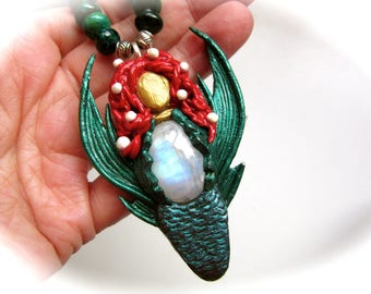 Moonstone Mermaid and Chrysocolla Beads Polymer Clay Pendant Necklace