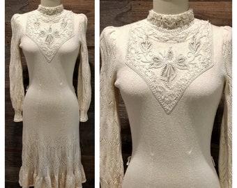 Vintage 1970s Knit Boho Dress