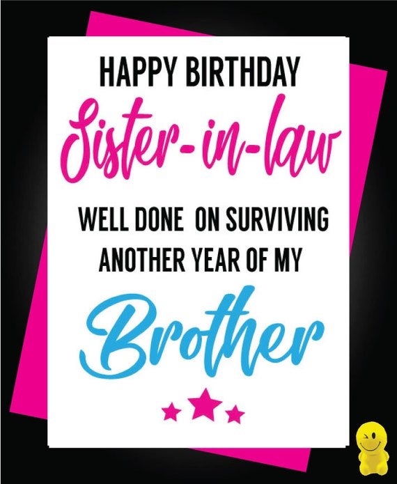Brother Sister Birthday Card Funny Sibling In Law