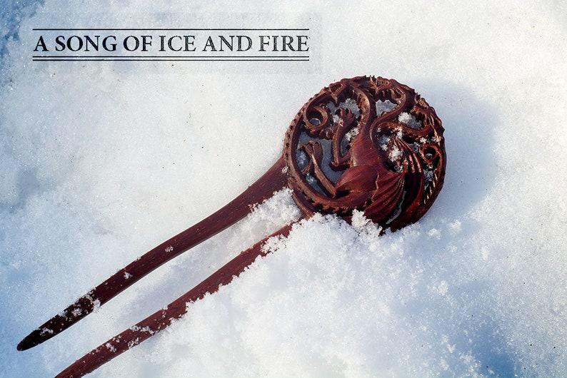 hair fork Daenerys Targaryen dragons wood carving hairpin redwood